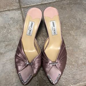 Jimmy Choo heels pink satin and cream leather